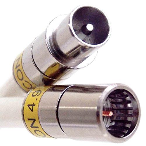 10 m Anschlusskabel IECM auf F-Quick, u. a. passend für Horizon-Box, mit Cabelcon Steckern, 3-fach geschirmtem Kabel, PVC weiß, Class A+, 115 dB