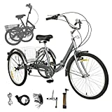 Sehrgo ZEHNHASE Triciclo para Adultos con cestas, 24 Pulgadas 7 Marchas, Bicicleta de Triciclo Plegable con Marco de aleación - Gris Plateado