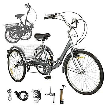 EOSAGA 7 Speed Adult Folding Tricycles Foldable Adult Trikes Three Wheel Trikes Bike Cruiser with Large Basket for Women Men  w/20   Wheels