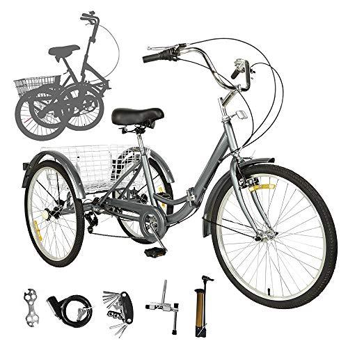Sehrgo Dreirad für Erwachsene, Fahrrad mit 7-Gang Cityräder mit Warenkorb Raumsgrau (20 Zoll)
