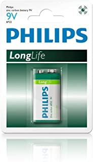 Philips 9 Volt Longlife Household Zinc-Carbon Battery Pack, (18193)