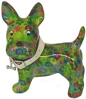 Słodka skarbonka ~ pies Boomer - zielona z kwiatami ~ Pomme Pidou Skarbonka Prezent pieniężny Prezent pieniężny