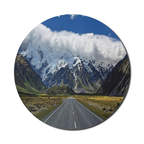 Lunarable Mountain Mouse Pad for Computers, Highway Road up to Mountains South Western Natural Wonder Snowy Peaks, Round Non-Slip Thick Rubber Modern Gaming Mousepad, 8' Round, Blue Green Grey