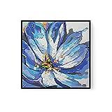 LIUZIXI Pintura Al Óleo Decorativa Abstracta - Arte Moderno 100% Pintado A Mano con Espátula - Flor Azul Abstracta Texturizada Arte De Pared Grande Pasillo Sala De Estar Decoración, 80 × 80 Cm (