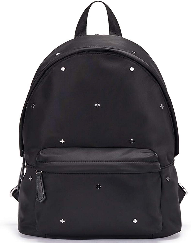 Backpack Leisure Bag Travel Bag Handbag, Cross Rivet Large Capacity Fashion Wild Pink Black Optional 29  19  39cm CONGMING (color   Black, Size   29  19  39cm)