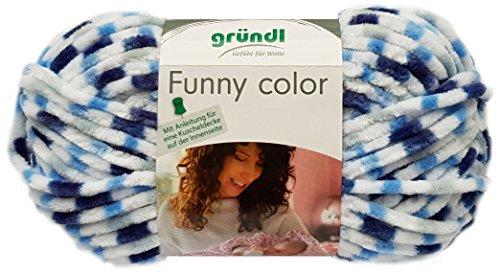Gründl Funny Color 100 Gramm Softgarn kuschelliges Garn aus 100% Polyester (03 Blau Weiss)