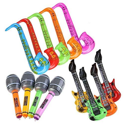 Yojoloin 12 UNIDS Inflables Guitarra Saxofón Micrófono Globos Instrumentos Musicales Accesorios para Fiesta Suministros Favores de Fiesta Globos Random Color (12 PCS)