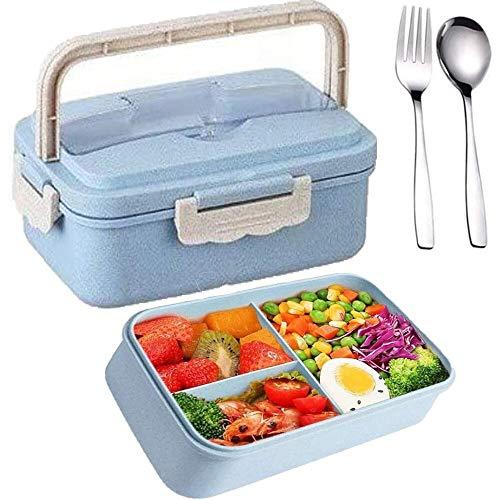 SunAurora Bento Boxen, Lunch Box, 1000ML Brotzeitbox Auslaufsicher, Mikrowellengeeignet und Spülmaschinenfeste Brotdose, mit Griff und Edelstahlbesteck (Blau)
