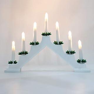 Lewondr Decorative Candle Bridge LED Lights, Christmas Electric Flameless 7 Lights Candolier Festival Holiday Home Living ...