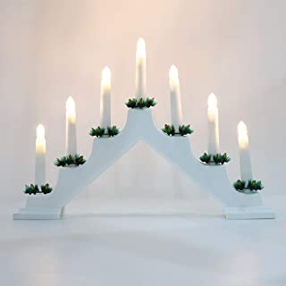 Lewondr Decorative LED Lights, Battery Powered Christmas Electric Flameless Lights Festival Holiday Home House Living Room Decorations 7 Lights Candolier Swedish Window Candlelabra – White