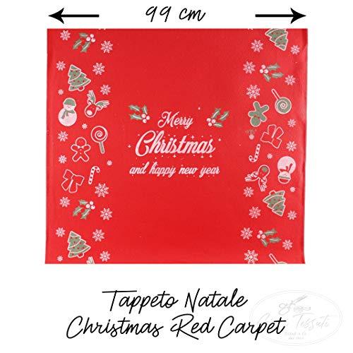 Generico Tappeto Runner Natale in Moquette di Poliestere Rosso - al Mezzo Metro - Larghezza 99 cm - Multiuso per passerella, Ingresso Negozio, casa, Ufficio - Merry Christmas Red Carpet
