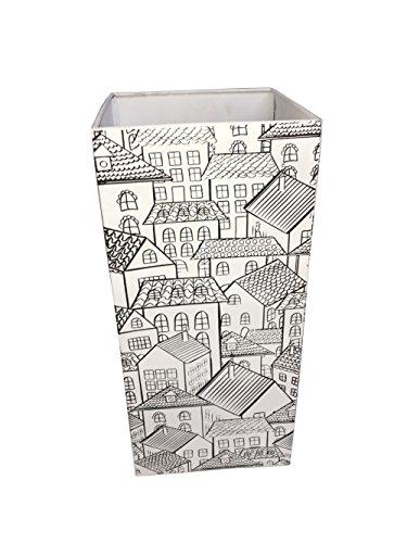 Rebecca Mobili Portaombrelli di Metallo, Porta Ombrello Bianco, con Decorazioni, casa Ufficio - Misure: 54 x 23 x 23 cm (HxLxP) - Art. RE6015