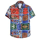 Hawaiian Shirt, Mens Cotton Linen Short Sleeve Casual Printed Blouse T-Shirt