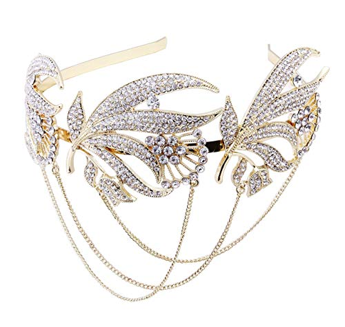 ArtiDeco 1920s Stirnband Flapper Haarband Stirn Kette Great Gatsby Halloween Motto Party Accessoires 1920s Flapper Charleston Zubehör (Gold)