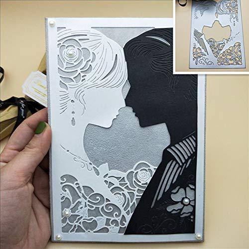 Kuizhiren1 Stanzschablone für Brautpaar aus Metall zum Basteln von Sammelalben, Papierkarten, Prägung, Bastelschablone silber
