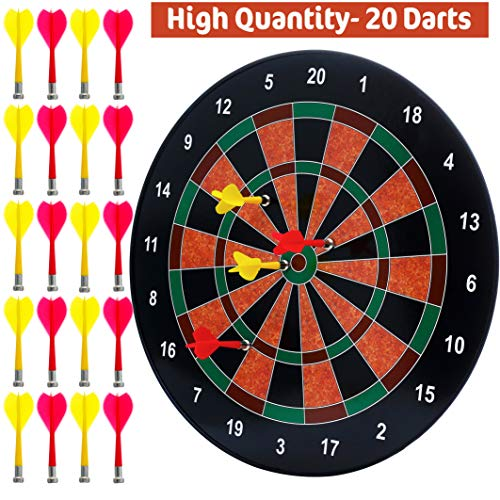 BETTERLINE Magnetic Dartboard Set with 20 Darts - 16 Inch Dart Board - Safe for Kids and Adults - Gift for Game Room, Office, Man Cave and Parties (Green Red White)