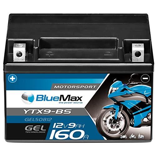 Motorradbatterie GEL 12V 9Ah BlueMax YTX9-BS Batterie 50812 CTX9-BS statt 8Ah