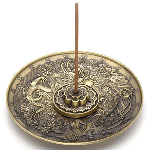 Jovivi - Porta incenso in Ottone Composto da bruciatore per Bastoncino di incenso, a Forma di Foglie di Loto, e piattino Porta conetti di incensoDecorato con Drago e Fenice, con posacenere Bronze
