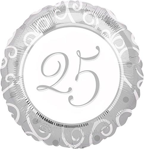 Folieballon, 25 jaar zilver, felicitatiewensen, vijfenttig jaar, zilveren bruiloft, folie, ballon, party, helium, decoratie, ballongas