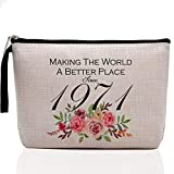 50th Birthday Gifts for Women-Making The World A Better Place Since 1971, 40 Years Old Makeup Bag for Her, Friend, Mom, Sister, Wife, Aunt, Coworker Boss
