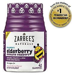 Zarbee's Naturals Children's Elderberry Immune Support* with Vitamin C & Zinc, Natural Berry Flavor,