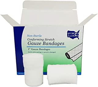 CPR Savers and First Aid Supply IMCO Multi-Packed 2 Inch x 4.1 Yards Non-Sterile Stretch Cotton Gauze Bandage Rolls for Injury, Wound, and Trauma (24)