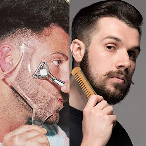 2 Pcs Beard Shaping & Styling Tool With Comb for Perfect line up & Edging For Men's Jaw Cheek/Neck Line, Symmetric/Curve/Step Cut Works with Any Beard Razor Electric Trimmers or Clippers