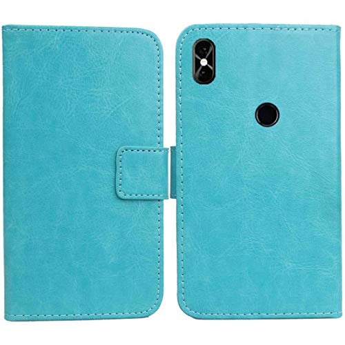 Golden Sheeps Flip Case Compatible for NUU Mobile X6 Magnetic Leather Wallet Pouch Cover Case Card Holder with a Viewing Stand (Blue)