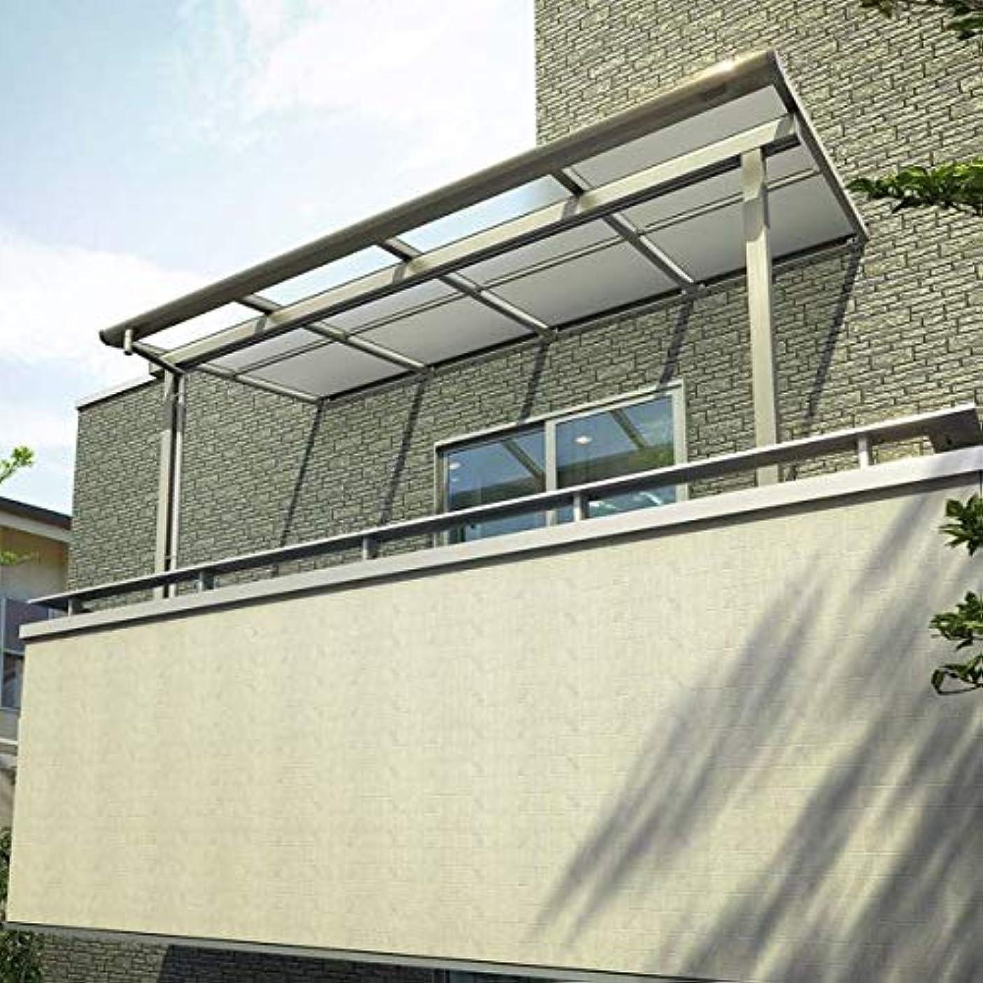 オーバードローピアノ制限YKKAP 躯体式バルコニー屋根 ソラリア Bタイプ 柱奥行移動タイプ 4間×4尺 フラット型 熱線遮断ポリカ屋根 メーターモジュール 600N/m2 中間取付金具セット付 ブラウン