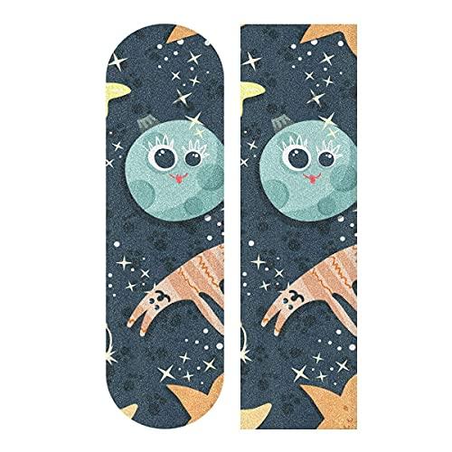 Cartoon Moon Cats Star - Cinta de agarre para monopatín, cinta de agarre para patineta, papel de lija para patineta, escaleras, pedal, silla de ruedas, paso, 1 hoja