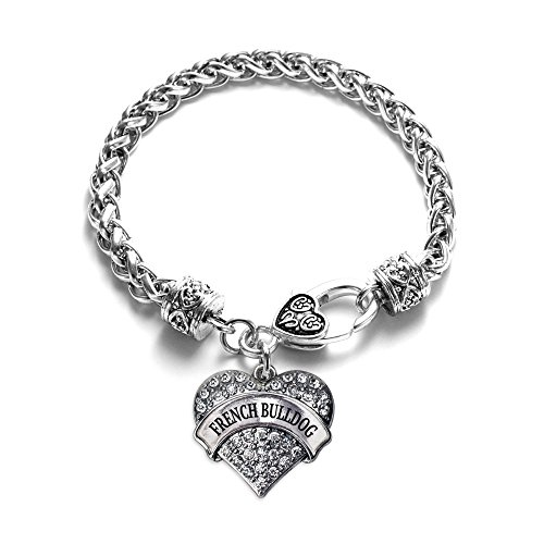 Inspired Silver - French Bulldog Braided Bracelet for Women - Silver Pave Heart Charm Bracelet with Cubic Zirconia Jewelry