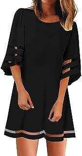 Women's V Neck Mesh Panel Blouse 3/4 Bell Sleeve Loose Mini Dress