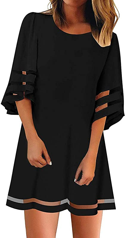 Rambling New Womens Mesh Panel 3 4 Bell Sleeve Lace Patchwork Blouse Casual Loose Shirt Dress