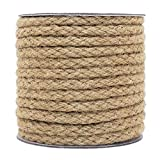 NEW WEAVING METHOD - This natural jute rope uses braiding technique. Comparing with twisted rope, it is more durable and stronger THICK AND STRONG ROPE - Approx. 5/16 inch thick, 52 feet long, our twine rope is strong and tightly woven by 8 strands w...