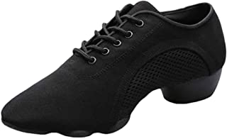 Inlefen Men Soft Split Rubber Sole Solid Color Wear Resistant Latin Sneakers