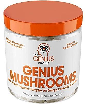 Genius Mushroom ? Lions Mane, Cordyceps and Reishi ? Immune System Booster & Nootropic Brain Supplement ? Wellness Formula for Natural Energy, Stress Relief, Memory & Liver Support, 90 Veggie Pills