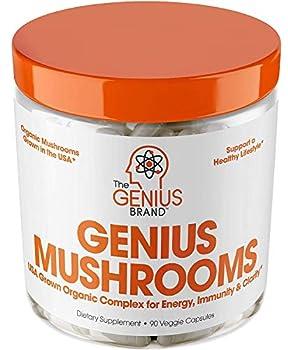 Genius Mushroom – Lions Mane Cordyceps and Reishi – Immune System Booster & Nootropic Brain Supplement – Wellness Formula for Natural Energy Stress Relief Memory & Liver Support 90 Veggie Pills
