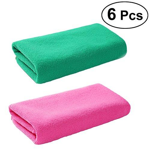 BESTonZON Lot de 6 serviettes en microfibre - Serviette de voyage - Pour le sport, la plage, le camping - Pour la natation, la gym, le fitness, le yoga - 30 x 30 cm (couleurs mélangées)