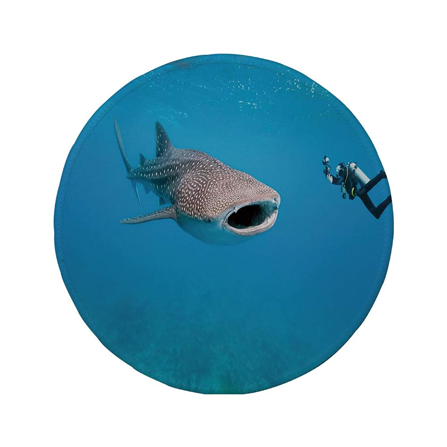 Non-Slip Rubber Round Mouse Pad,Shark,Giant Whale Shark and Underwater Photographer in Wildlife Diving Image,Violet Blue Light Grey,11.8