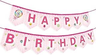 Candyland Birthday Banner,Lollipop Birthday Banner,Rainbow Candy Birthday Banner,Donut Birthday Banner,Candyland Party Supplies,Candyland Baby Shower,Candyland Decoration for Girls,Kids,Home,Classroom,Bedroom