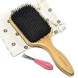 BESTOOL Brosse à cheveux de soies de sanglier et bambou large Antistatique Confortable et durable...