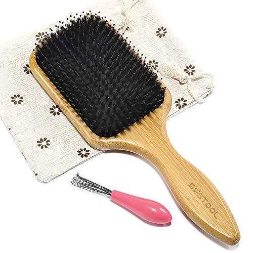 BESTOOL Jabalí de cerdas de madera de bambú masaje peine,nudo no electrostática comodo y durable gran Paddle hairbrush con bolsa de gas (Negro) (plaza)