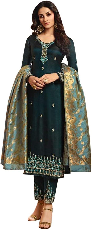 Beautiful Indian Muslim Silk Salwar Kameez Heavy Embroidery Ethnic Zari work Cyan 7256