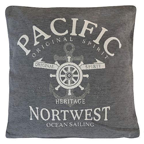Grafelstein Kissen Pacific grau aus Chenille Hamptons chic maritim Long Island