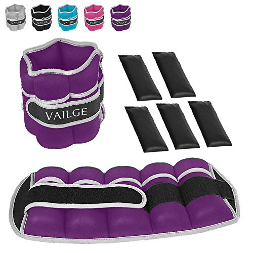 Vailge Ankle Weights Adjustable Leg Weights for Fitness Jogging Walking Exercise, Ankle Weights Women men, Wrist and Ankle Weights (Purple, 2KG Pair=(2x2=4KG))