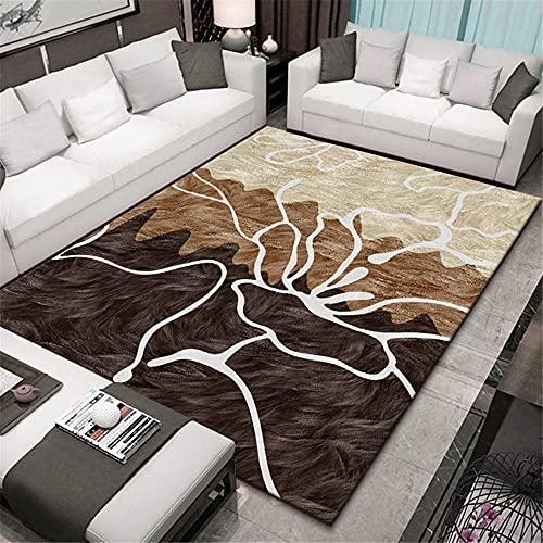 Alfombra Alfombra Chimenea Suave y Confortable Alfombra de diseño geométrico Blanco Amarillo marrón Durable Decoracion Dormitorio Juvenil Decoracion recibidor 180X250CM