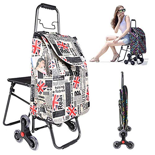 BCX Folding Shopping Trolley with Seat for Disabled 6 Wheel Shopping Trolley Bag,Foldable Compact Grocery Stair Climbing Cart/Waterproof Durable,Max Capacity 30 Kg,Push/Pull,D,D