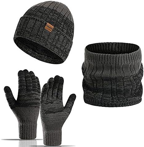 LECMACY 3 in 1 Winter Beanie Set Hat Infinity Scarf Touch Screen Gloves Warm Knitted Fleece Inner Lining Cap for Men & Women