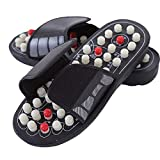 Xshuai 1 Pair Reflexology Sandals Foot Massager Shoes Slipper Therapy Acupressure Acupuncture Foot Health Care Pain Cushion (EU 38, Black)
