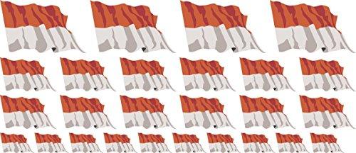 Mini Aufkleber Set wehend - 4x51x31mm+12x33x20mm+10x 20x12mm- Aufkleber - Fahne - Indonesien - Flagge - Banner - Standarte fürs Auto, Büro, zu Hause und die Schule - Set of 26